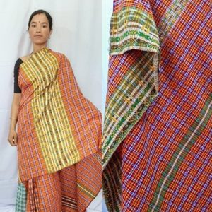 Deepti Kopah Checkered Gero design Mekhela sador