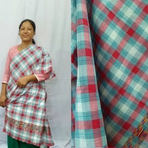 Deepti Kopah Checkered cotton mekhela sador